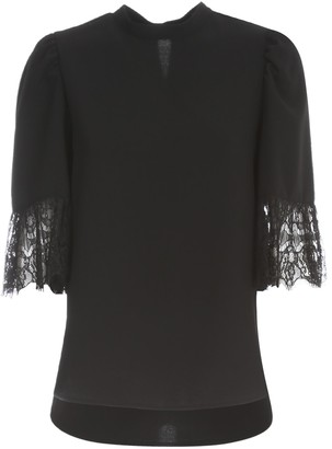 See by Chloe Signature Crepe & Lace Sweater 3/4s Crew Neck