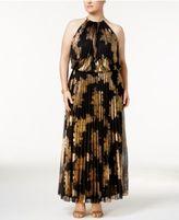 MSK Plus Size Metallic-Print Pleated Blouson Halter Gown