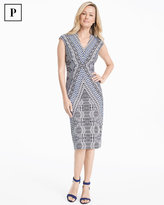 White House Black Market Petite Cap-Sleeve Printed Knit Sheath Dress