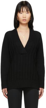 Proenza Schouler Black Oversized V-Neck Sweater