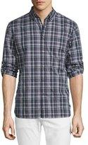 John Varvatos Slim-Fit Plaid Sport Shirt, Plum
