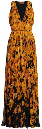 Altuzarra Layla Sleeveless Pleated Floral Gown