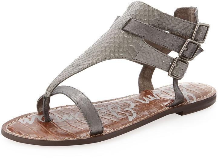 Sam Edelman Greena Snake-Print & Metallic Flat Gladiator Sandal, Gunmetal