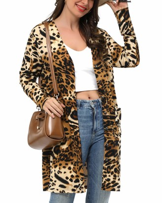 VOTEPRETTY Womens Long Sleeve Lightweight Button Knit Casual Cardigan Sweater with Pockets(Leopard02 L)