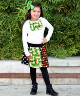 Beary Basics White School Bus Top & Patchwork Skirt Set - Infant Toddler & Girls