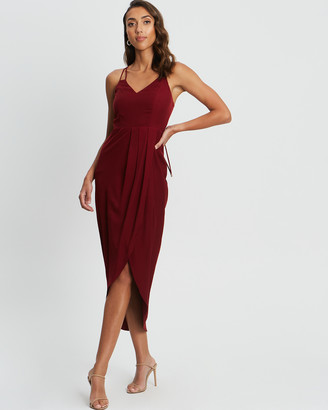 CHANCERY - Women's Red Midi Dresses - Marta Lace Up Midi - Size One Size, 6 at The Iconic