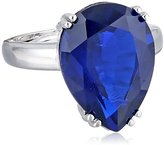"Kenneth Jay Lane CZ by Special Occasion"" Blue Pear CZ Glamorous Adjustable Ring, Size 5-7, 15 CTTW"