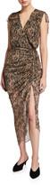 Veronica Beard Teagan Snake-Print Silk Midi Dress