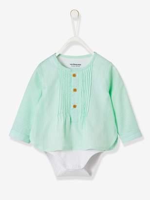 Vertbaudet Fancy Striped Shirt-Bodysuit for Baby Boys