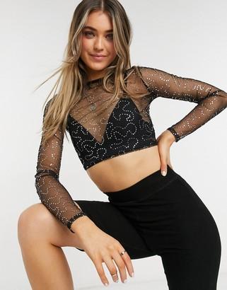 Rokoko long sleeve mesh crop top in black sequin fabric co