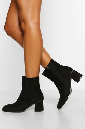boohoo Wide Fit Low Block Heel Chelsea Boots