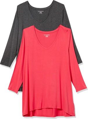 Amazon Essentials Women's Standard 2-Pack 3/4 Sleeve V-Neck Swing Tee
