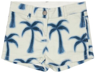 Stella McCartney Kids Stretch Denim Shorts W/ Palm Print