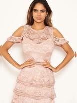 AX Paris Petite Lace Tier Dress - Mushroom