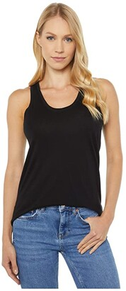 bobi Los Angeles Swing Tank Top in Lightweight Cotton Jersey (Black) Women's Clothing