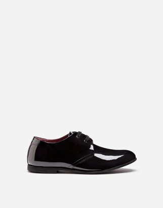 Dolce & Gabbana Patent Leather Derby Shoes With Logo