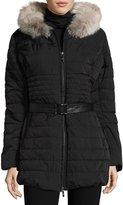 Gorski Fur-Trim Hood Puffer Jacket, Black
