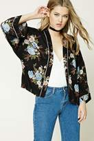 Forever 21 Contrast Piping Floral Kimono