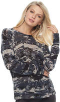 Rock & Republic Women's Textured Camo Crewneck Sweater