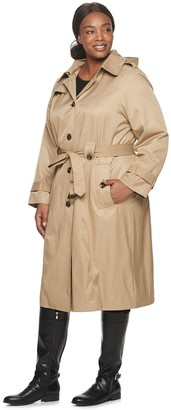 Plus Size TOWER by London Fog Single Breasted Trench Coat