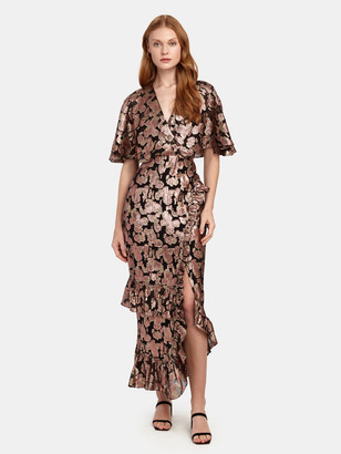 Saloni Rose Fringe Applique Silk Blend Midi Dress