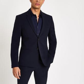 River Island Navy super skinny suit jacket