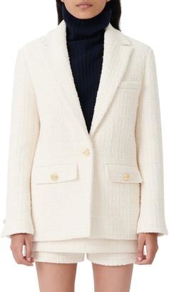 Maje Button Flap Tweed Blazer