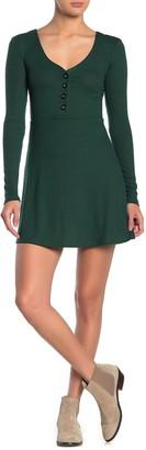 Velvet Torch V-Neck Long Sleeve Skater Dress