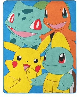 "Pokemon Kantos Pals 55"" x 70"" Silk Touch Throw w/ Pikachu, Squirtle, Bulbasaur and Charmander"