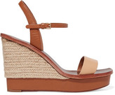 Tory Burch Malaga Two-Tone Leather Espadrille Wedge Sandals
