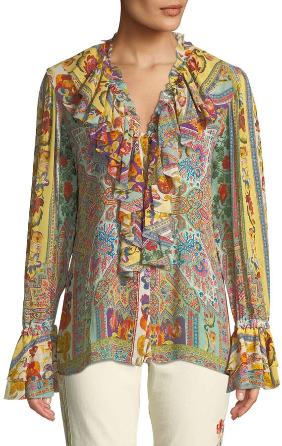 Etro Ruffled Medallion-Floral Print Silk Blouse