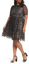London Times Plus Size Women's Illusion Lace Fit & Flare Dress