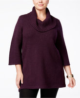 Karen Scott Plus Size Cowl-Neck Tunic Sweater, Only at Macy's