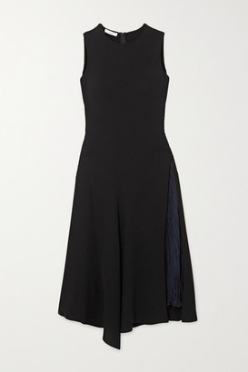 Vince Asymmetric Paneled Crepe And Hammered-satin Midi Dress - Black