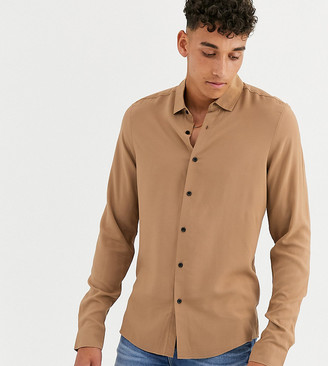 ASOS DESIGN Tall regular fit viscose shirt in tan brown