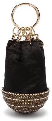 Rosantica Ghizlan Crystal-base Velvet Clutch Bag - Womens - Black Gold