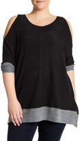Bobeau Long Sleeve Warm Shoulder Shirt (Plus Size)