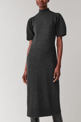 Cos Puff Sleeve Wool-Mix Dress