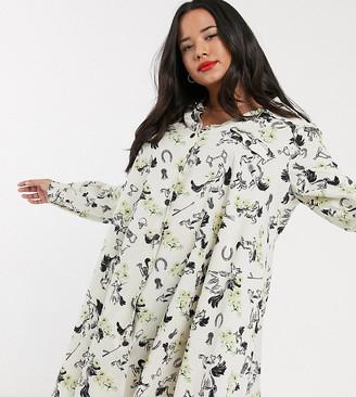 ASOS DESIGN Curve horse print shirt dress