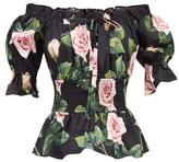 Dolce & Gabbana Off-the-shoulder Smocked Rose-print Cotton Top - Womens - Black Print
