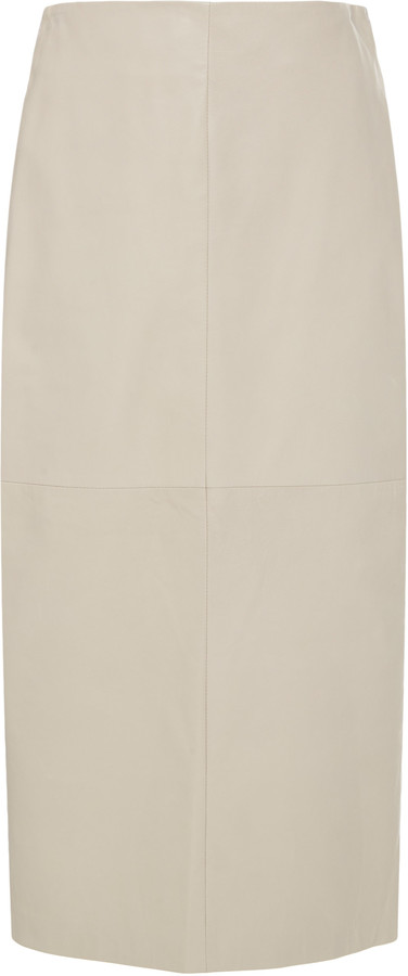 Brunello Cucinelli High-Waisted Leather Midi Pencil Skirt