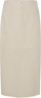 Brunello Cucinelli High-Waisted Leather Midi Pencil Skirt