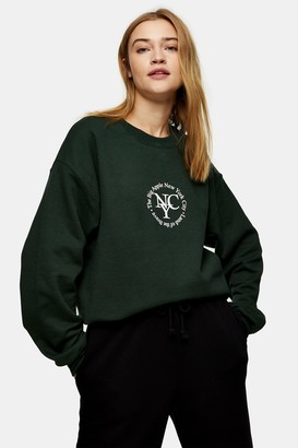 Topshop Womens Green Sport Circle Print Sweatshirt - Green