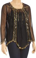 Black & Gold Sequin Top & Tank - Plus
