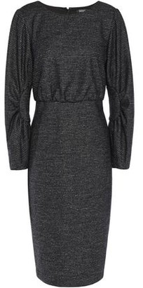 Badgley Mischka Gathered Melange Tweed Dress