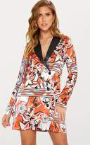 PrettyLittleThing Orange Contrast Detail Blazer Dress