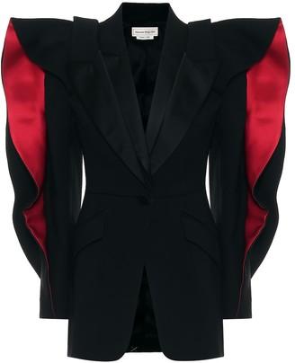 Alexander McQueen Ruffled wool and silk-blend blazer