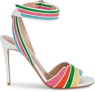 Valentino Rainbow Suede & Leather Stiletto Ankle-Strap Sandals