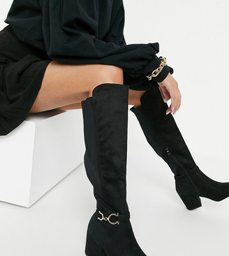 Truffle Collection wide fit over the knee heeled boots in black with metal trim detail