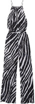 L'Agent by Agent Provocateur Isabell Zebra-print Chiffon Jumpsuit - Black